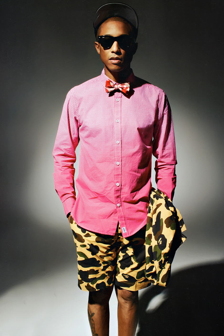 pharrell williams models billionaire boys club and a bathing ape