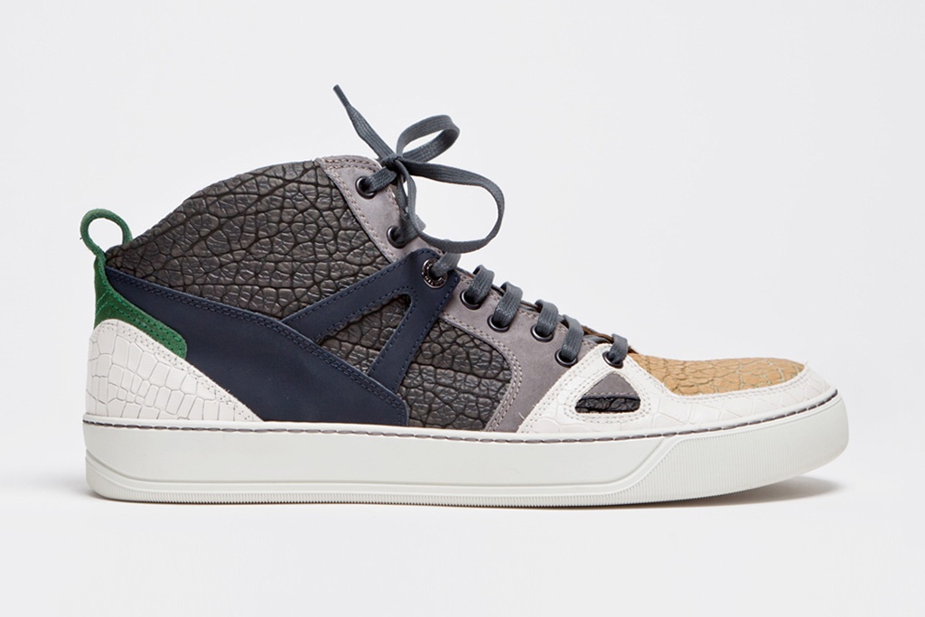 lanvin 2013 spring summer mid top sneaker textured grey