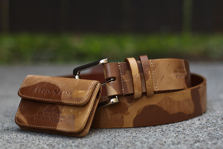Logan Zane for two/eighteen by Burn Rubber Camo Leather Belt & Card Holder