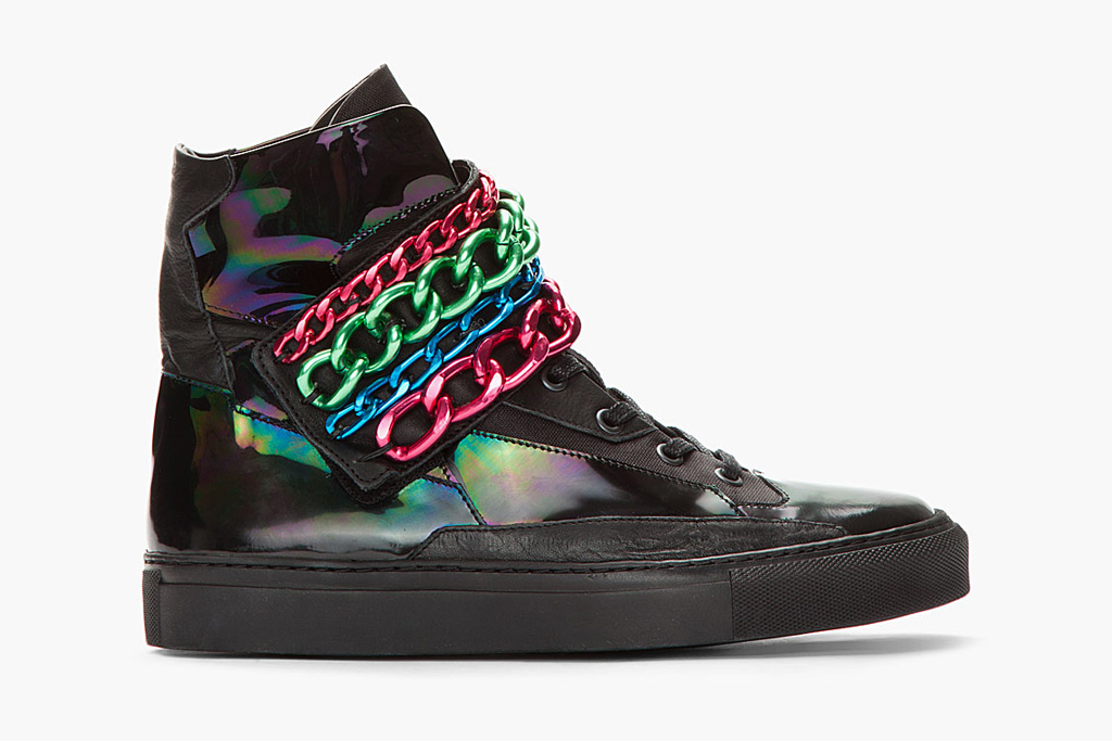 Raf Simons Black Holographic Tricolor Chained Velcro Sneaker