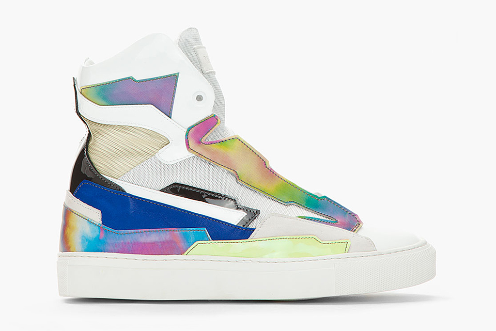 raf simons white blue leather holographic space sneakers