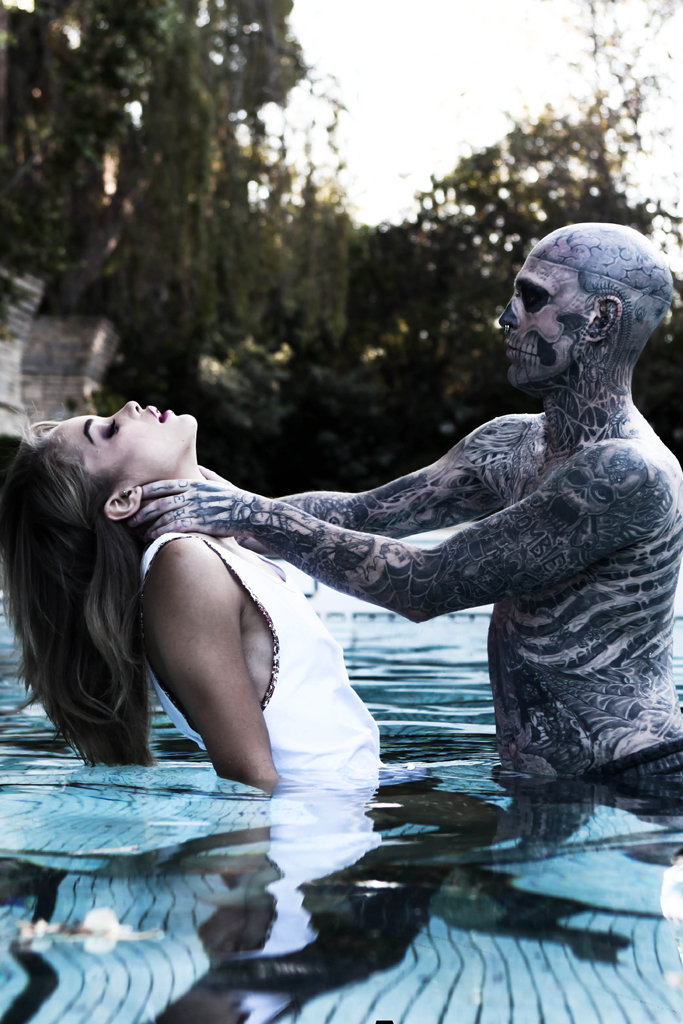 rick genest and jasmine sanders shot by matt plunkett beauty the beast