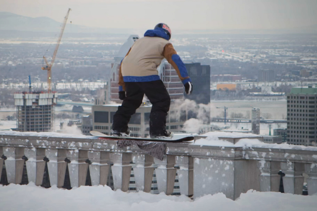 Snowboarding Mount Royal in the Middle of Montreal