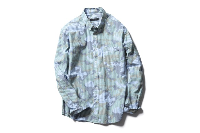 SOPHNET. Camouflage Over Print Button Down Shirts