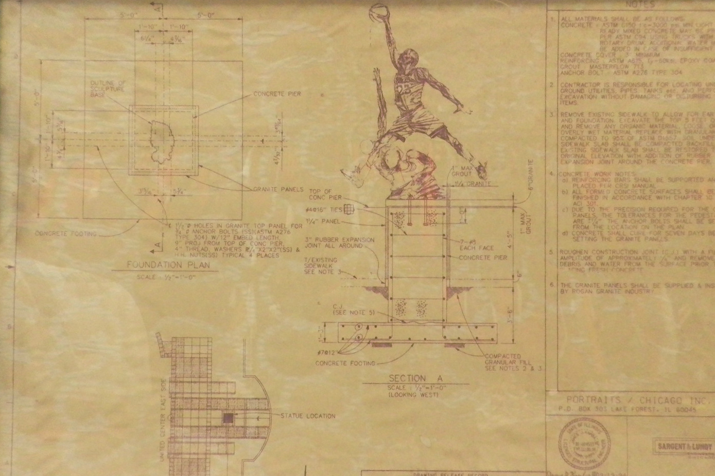 the united center michael jordan statue blueprint