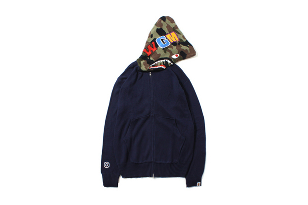 A Bathing Ape KNIT SHARK FULL ZIP HOODIE