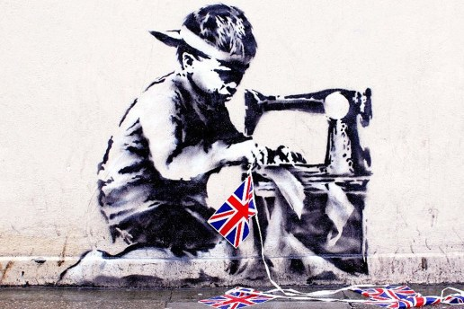 Banksy's Union Jack Child Labour Stencil Chiselled Off The Wall For Auction