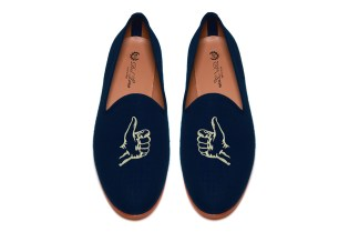 "Five Story NYC x Del Toro ""Thumbs Up"" Navy Linen Slipper"