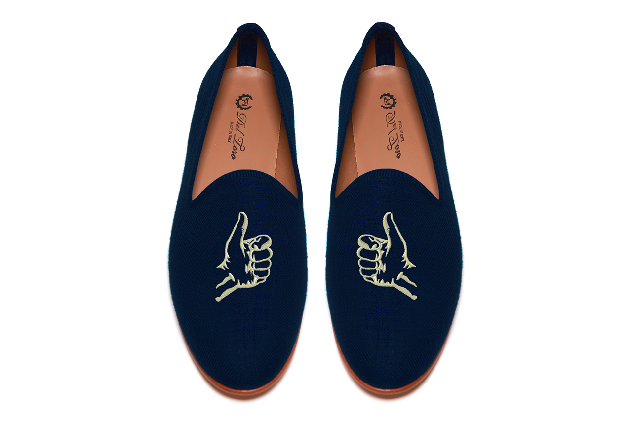 five story nyc x del toro thumbs up navy linen slipper