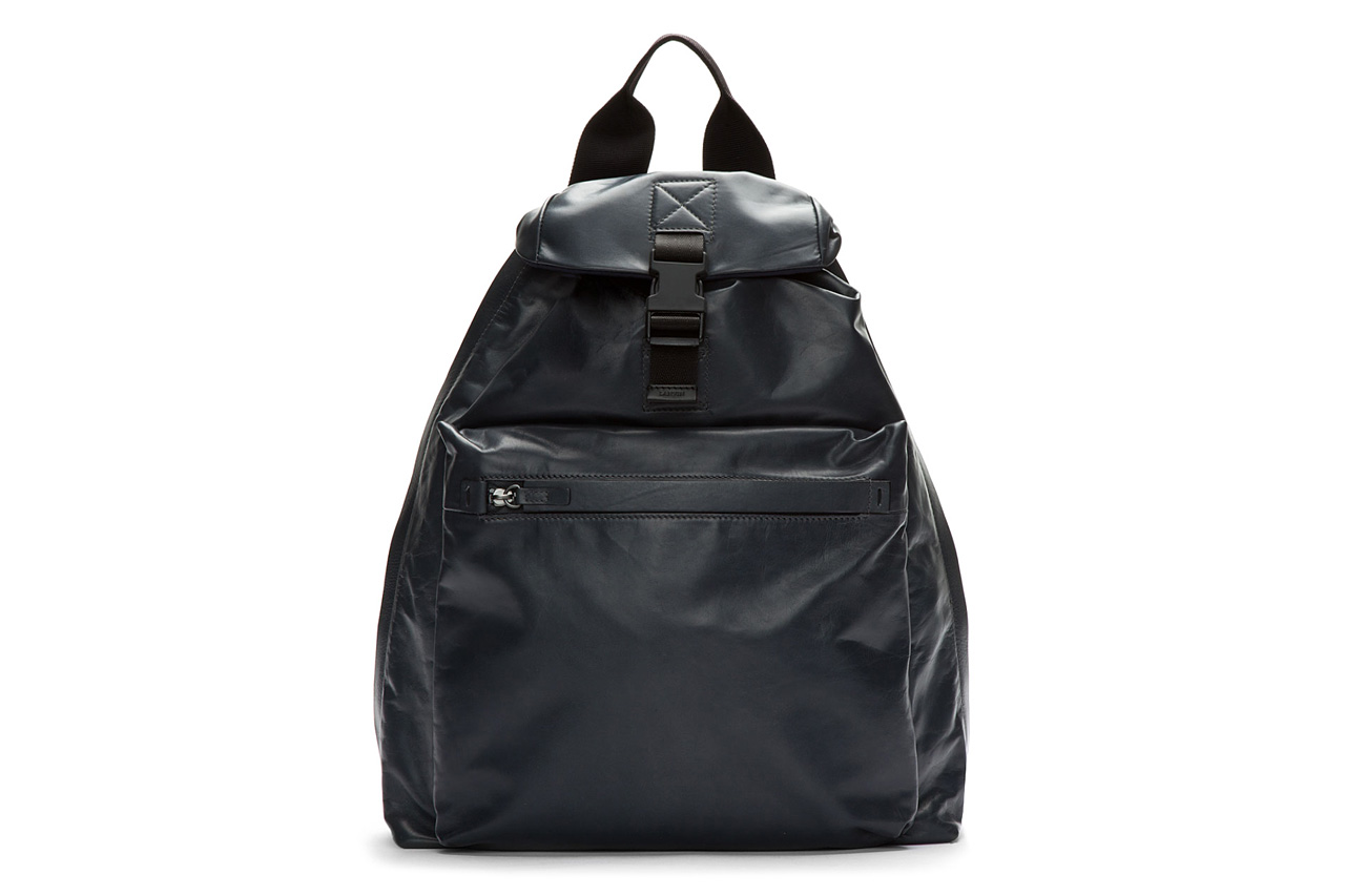 lanvin charcoal buffed leather one strap backpack