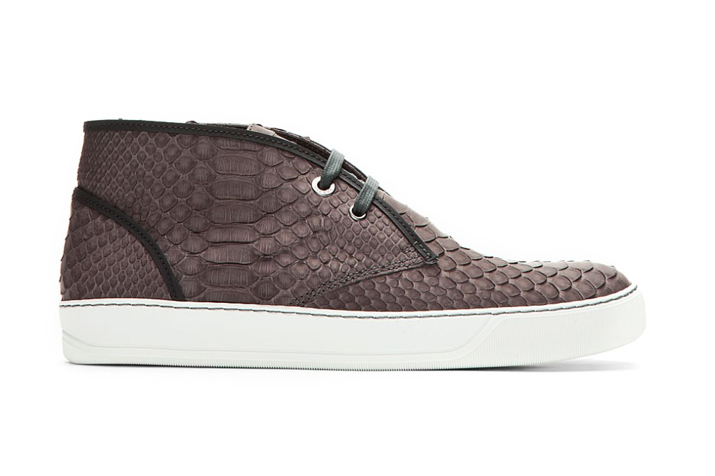 Lanvin Charcoal Pythonskin Sneakers