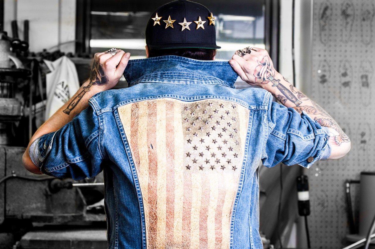 modern vice rebel yell star studded jean jacket