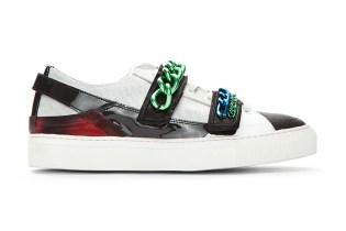 Raf Simons White Holographic Tricolor Chained Low-Top Velcro Sneaker