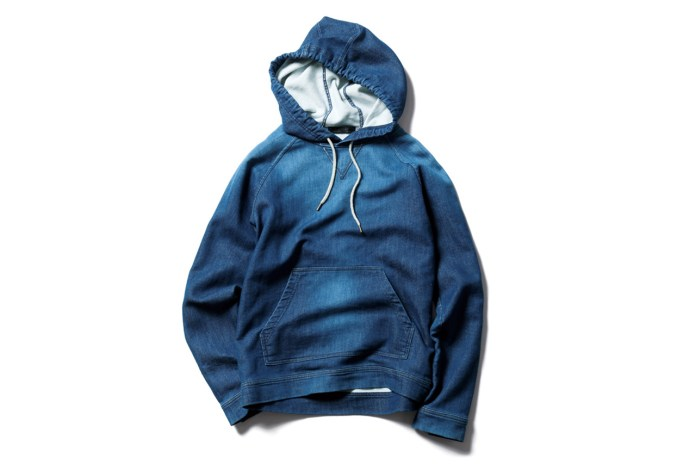 SOPHNET. Indigo Jersey Pull Over Parka (Damaged)