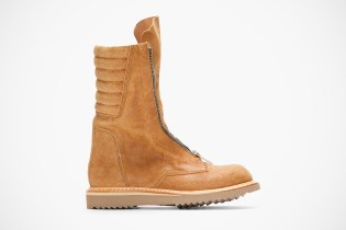 Rick Owens Tan Brushed Suede Zippered Limo Boots