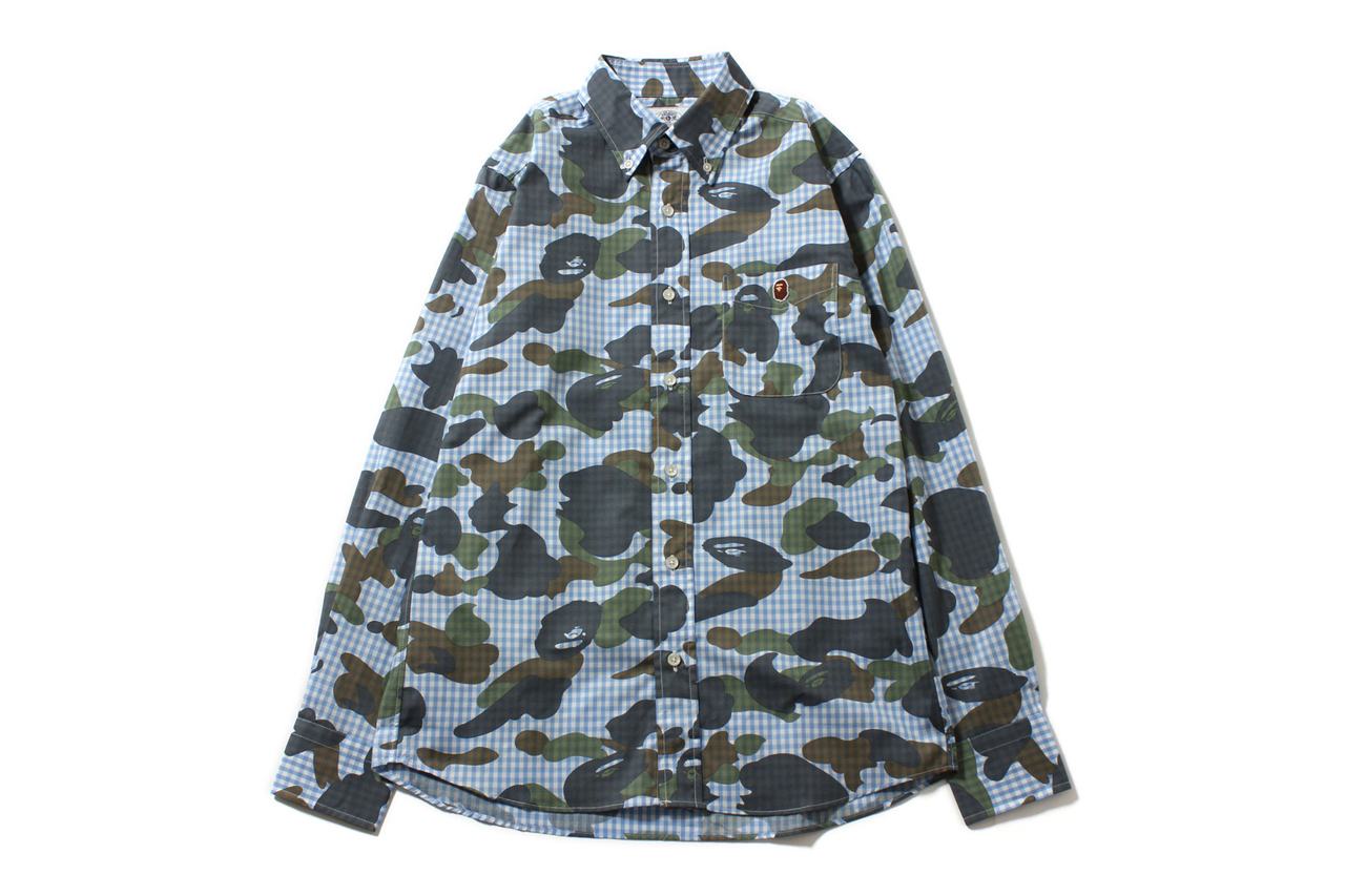 a bathing ape 2013 spring summer 1st camo x gingham check shirt