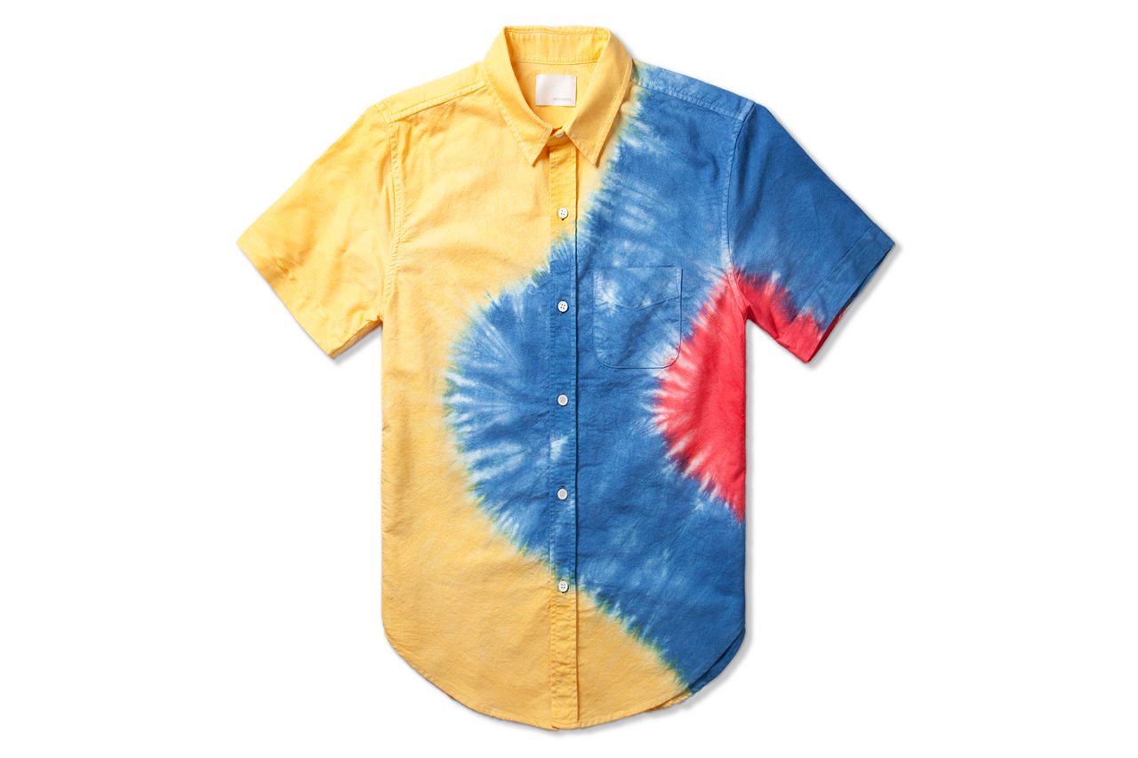 band of outsiders lemon engineered rainbow tie dye shirt