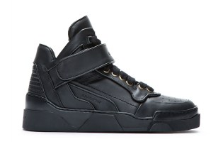 Givenchy Black Leather Velcro-Strap Mid-Top Sneakers