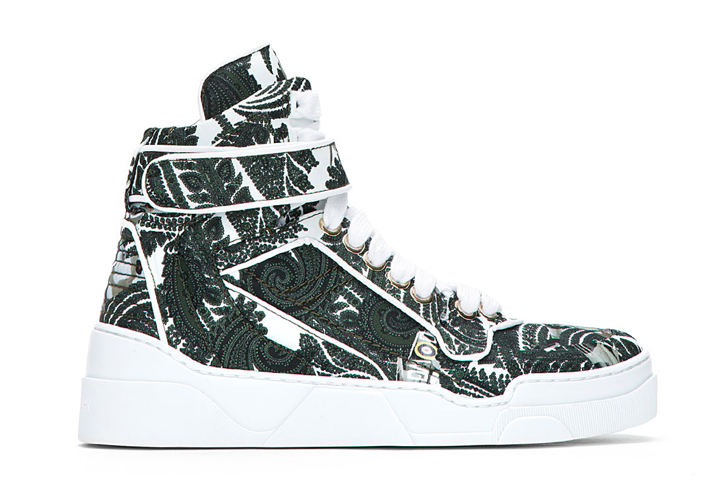 givenchy green paisley print high top sneakers