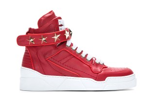Givenchy Red Leather Star-Detail Sneaker