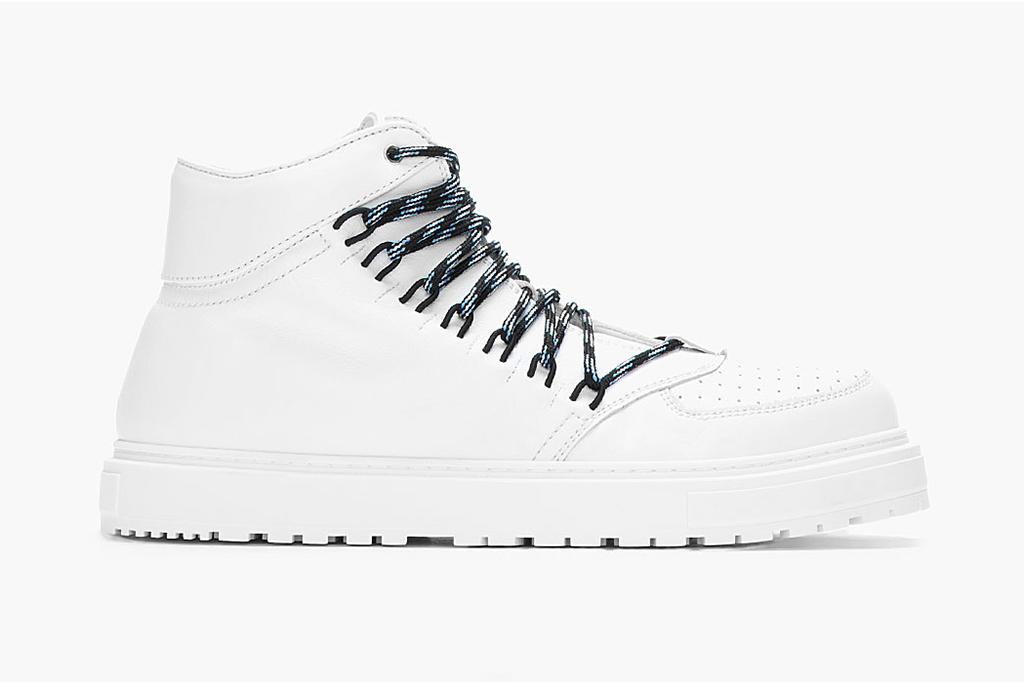 KRISVANASSCHE White Leather Elastic-Eyelet Sneakers