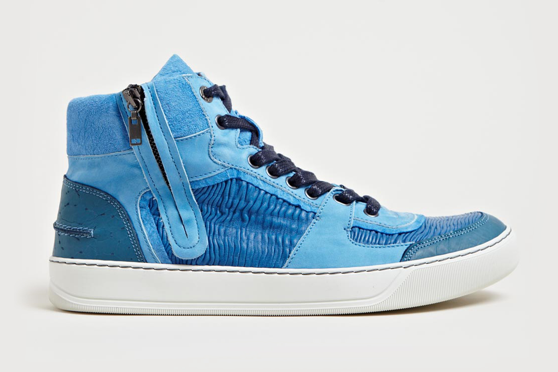 Lanvin Mid High Basket Sneakers Blue
