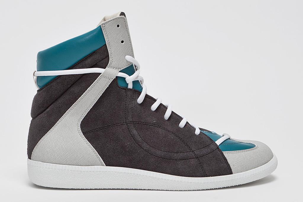 maison martin margiela panelled high top sneaker