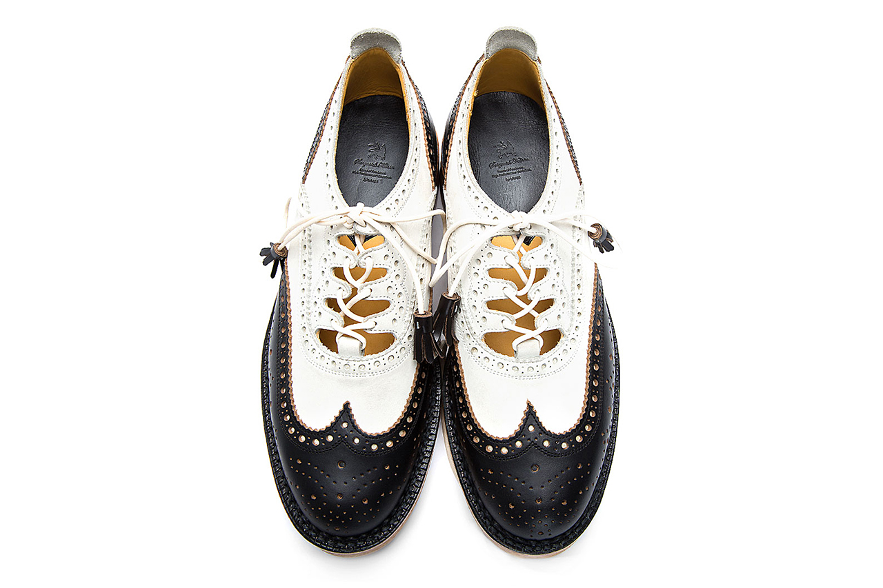 sasquatchfabrix black and white ghillie wingtip brogues