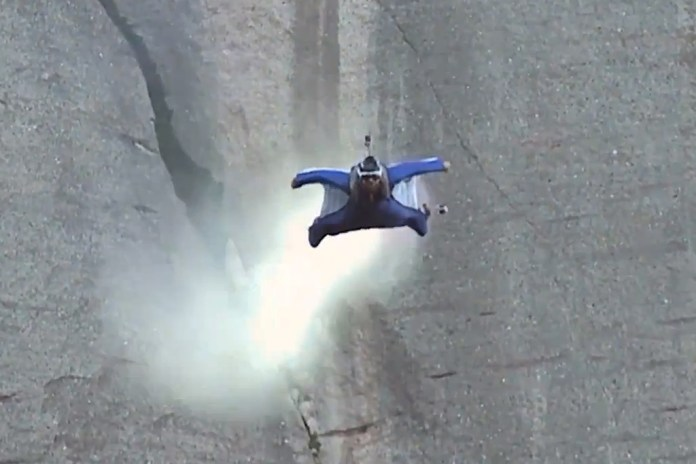 Wingsuit BASE Jumper Alexander Polli Flies Through a Mountainside at 110 MPH