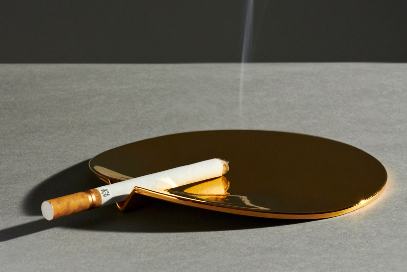 24 carat gold plated fetish ashtray by joe doucet