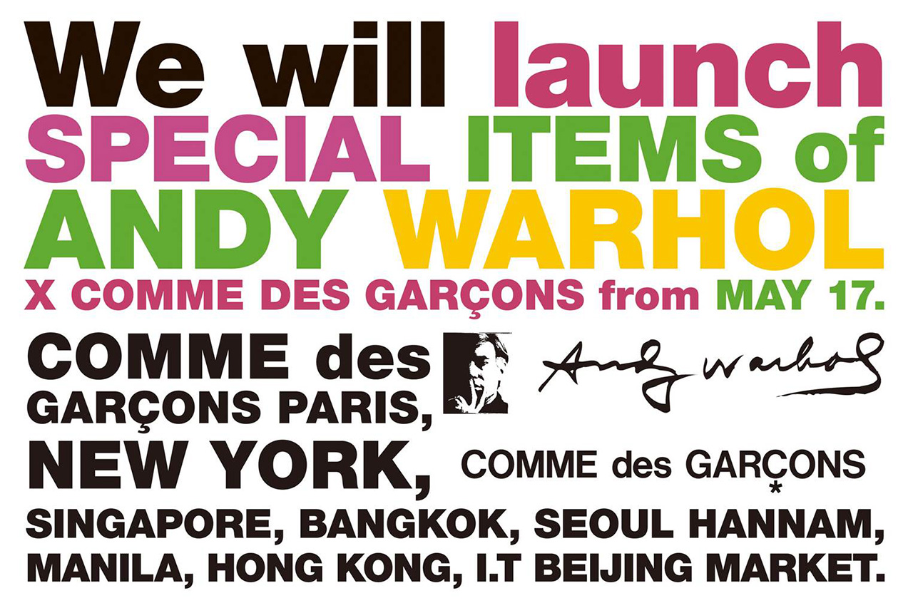 Andy Warhol x COMME des GARÇONS May Release
