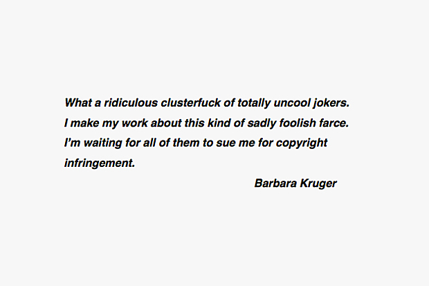 Barbara Kruger Weighs In on the Supreme Lawsuit Against Married To The Mob