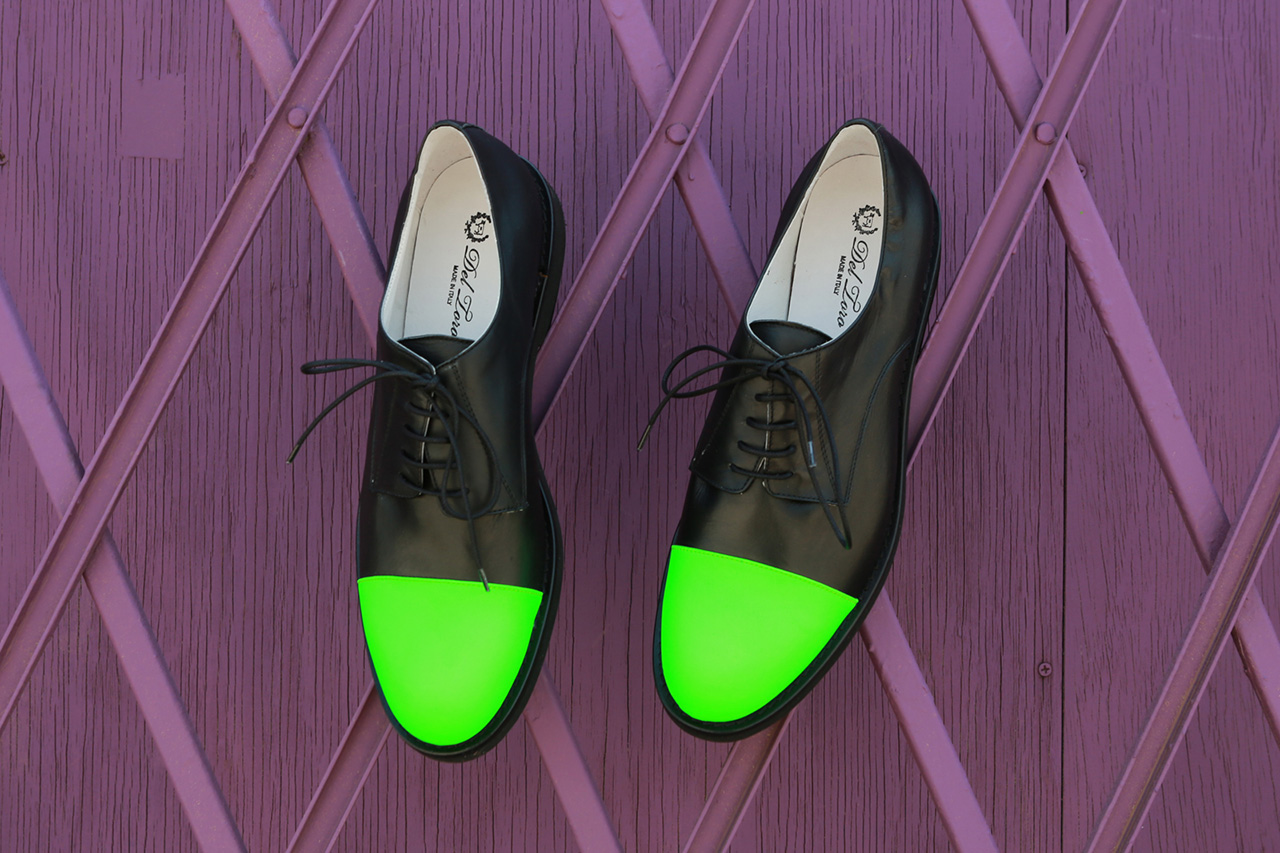 Del Toro 3M Neon Green Toe Cap Oxford