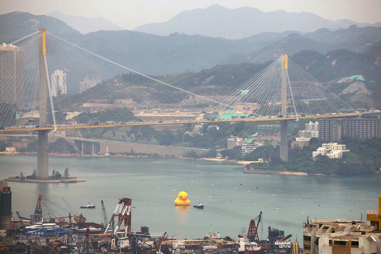 florentijn hofmans giant inflatable rubber duck floats to hong kong