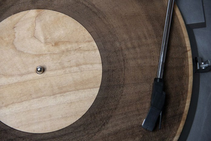 Laser-Cut Wooden Records by Amanda Ghassaei