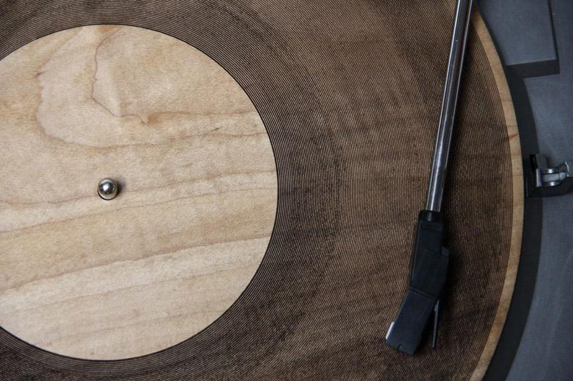 Laser-Cut Wooden Records by Amanda Ghassaei