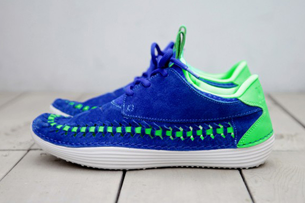 nike 2013 summer solarsoft mocassin premium woven hyper blue poison green