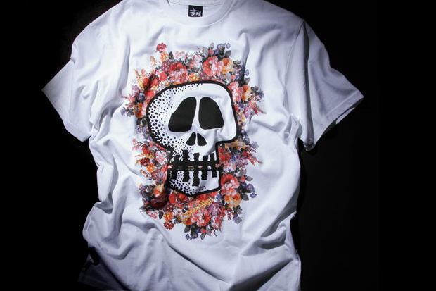 stussy floral skull t shirt