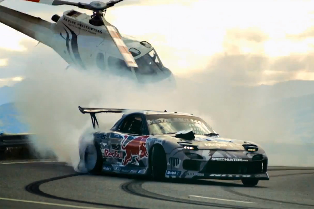 The Red Bull Mazda RX-7 Drifts Across New Zealand's Crown Range
