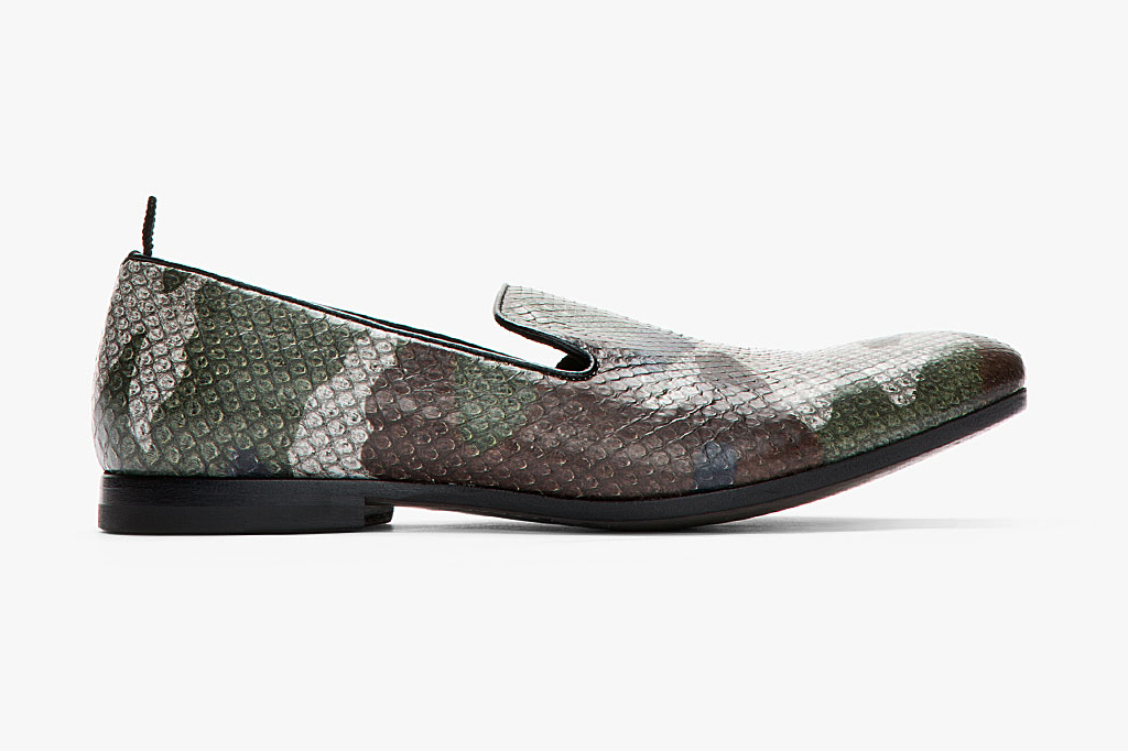 alexander mcqueen grey camo print python leather loafers