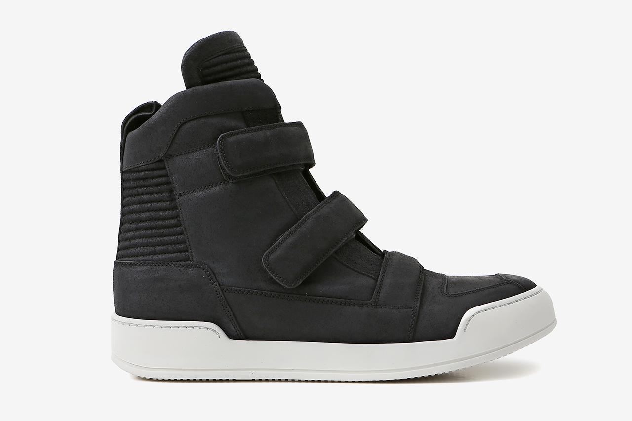 Balmain Black Velcro Tabs Leather High-Top Sneaker
