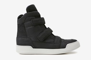 Balmain Black Velcro Tabs Leather High-Top Sneaker
