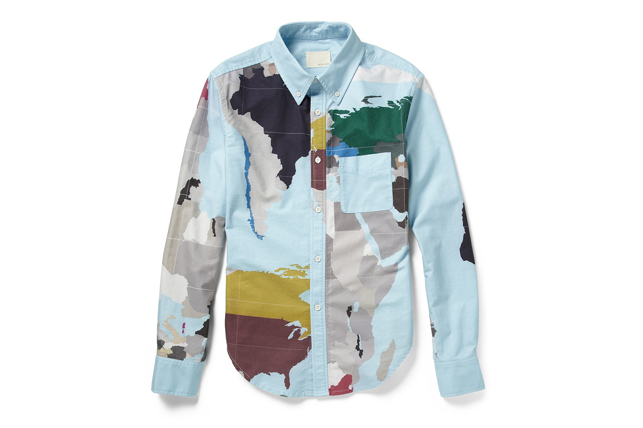 "Band of Outsiders ""Map Print"" Cotton Shirt"