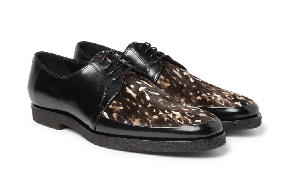 burberry prorsum 2013 fall winter printed ponyskin and leather derby shoes