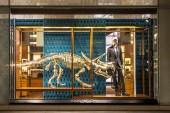 Gilded Dinosaur Skeleton Installation at Louis Vuitton New York