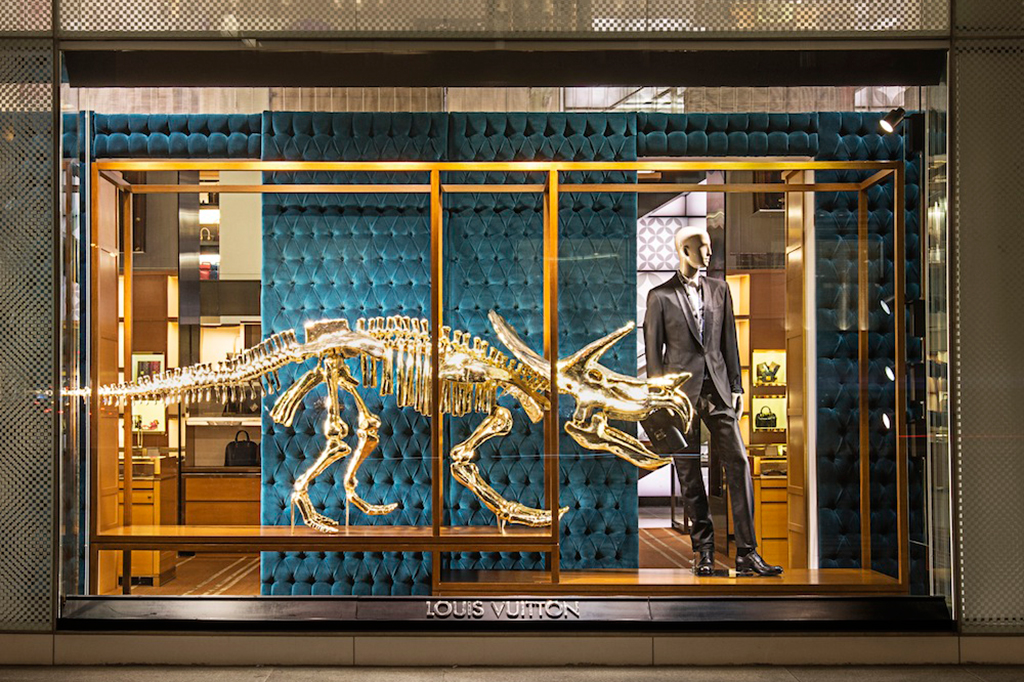 Gilded Dinosaur Skeleton Installation at Louis Vuitton New York