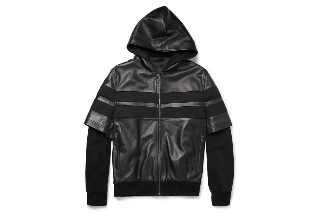 givenchy 2013 fall winter double sleeved leather stripe cotton bomber jacket