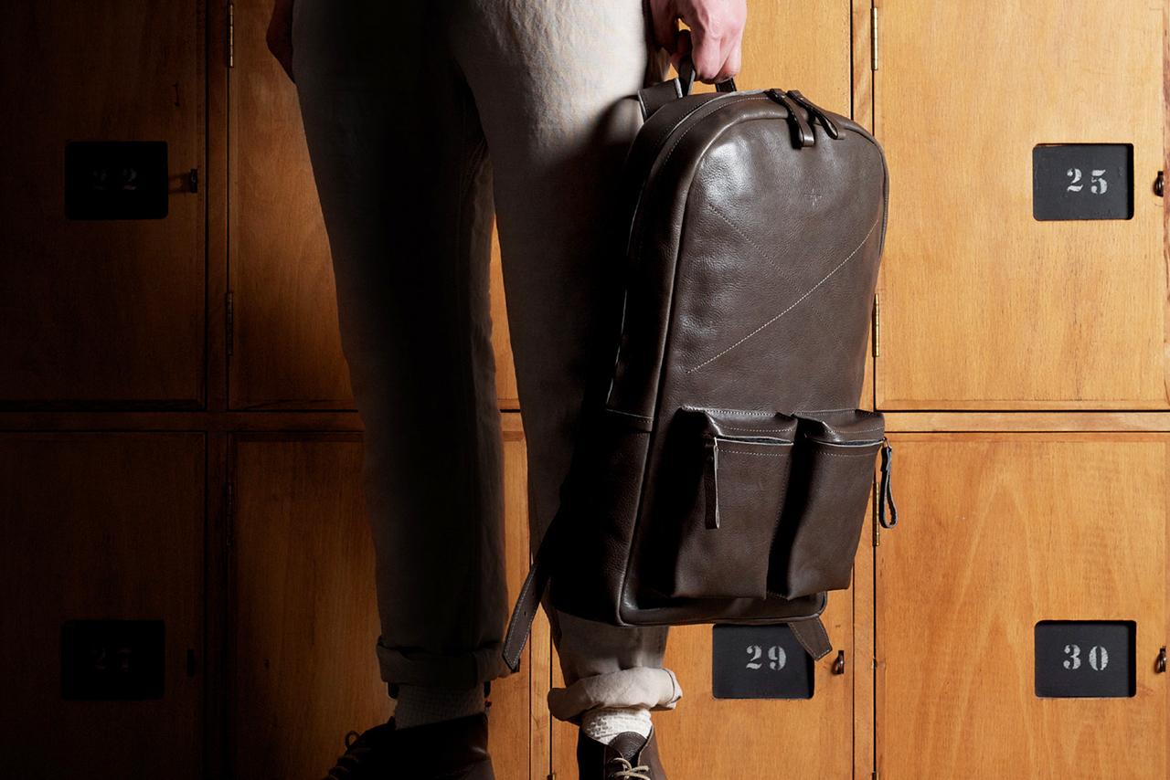 hard graft Old School Leather Rucksack/Backpack Smoke