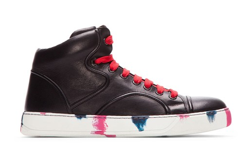 Lanvin Black Leather Painted Mid-Top Sneakers