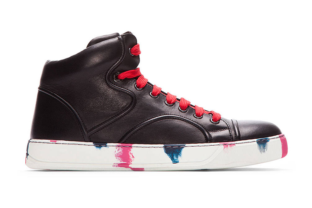 lanvin black leather painted mid top sneakers